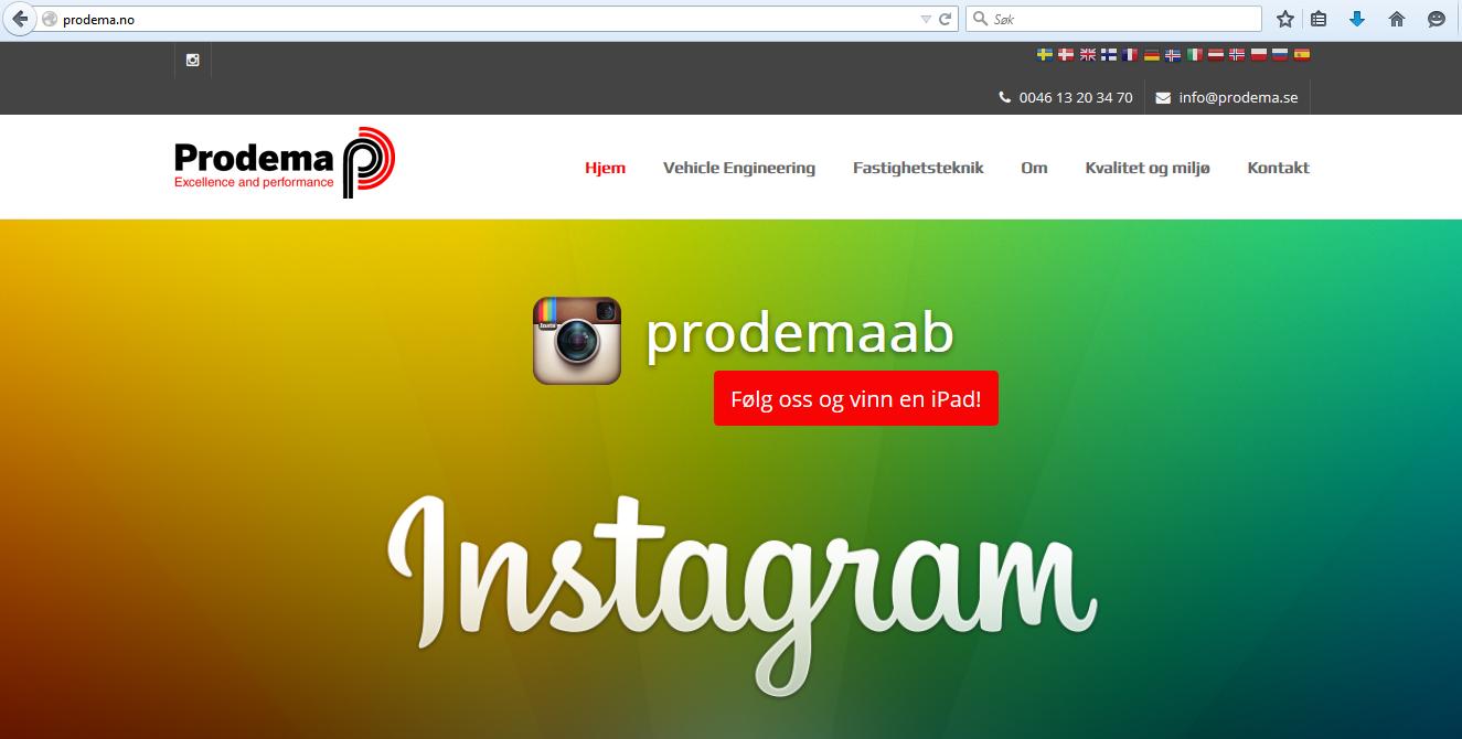 Nettsidetekst for Prodema